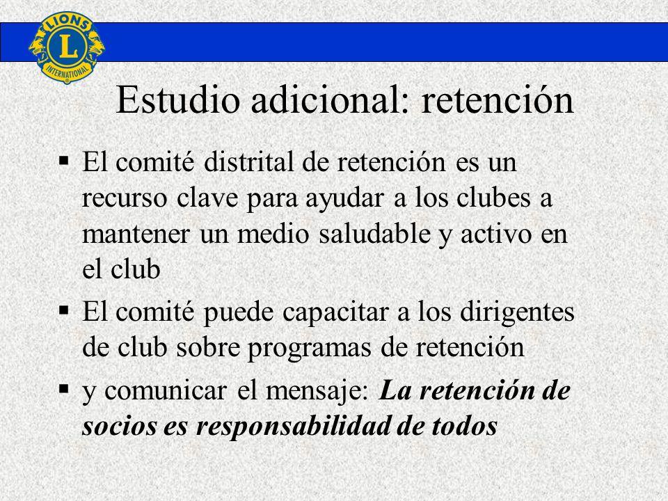 Estudio adicional: retención