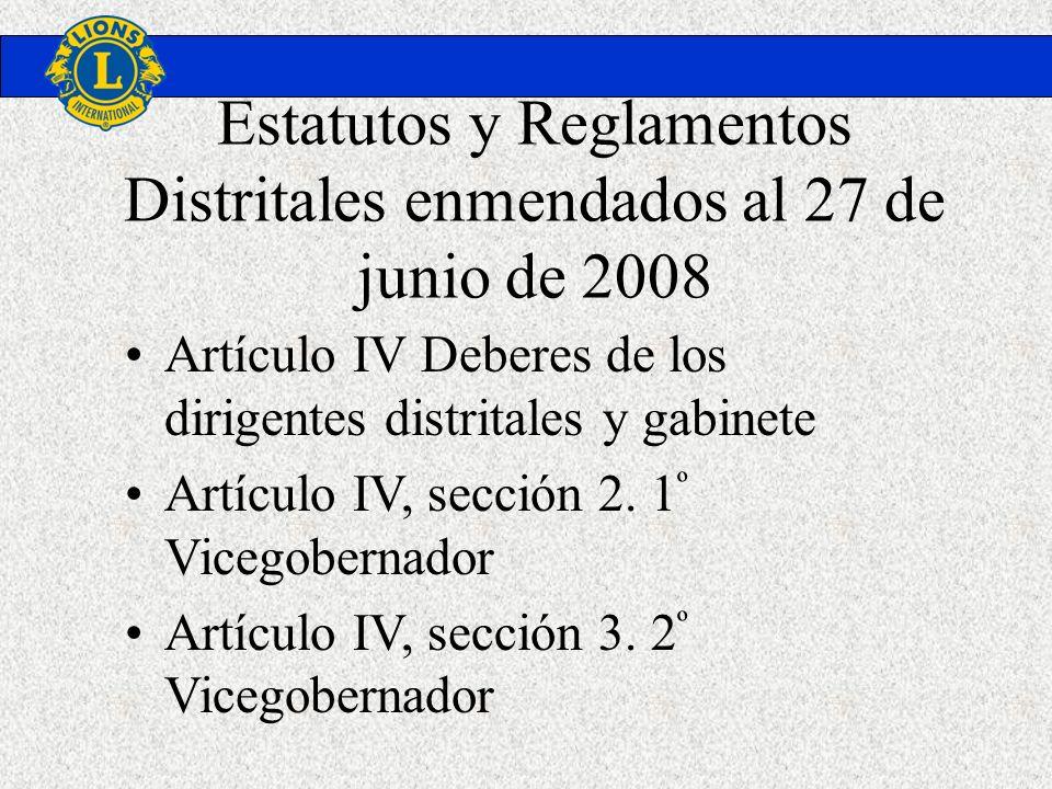Estatutos y Reglamentos Distritales enmendados al 27 de junio de 2008