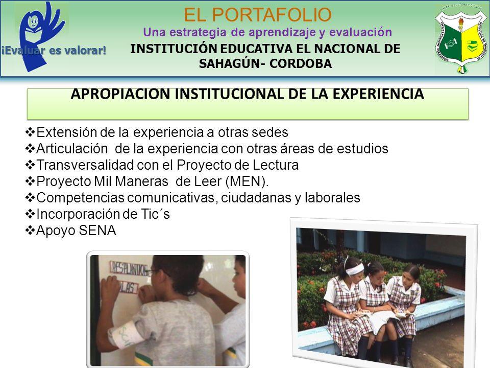 APROPIACION INSTITUCIONAL DE LA EXPERIENCIA