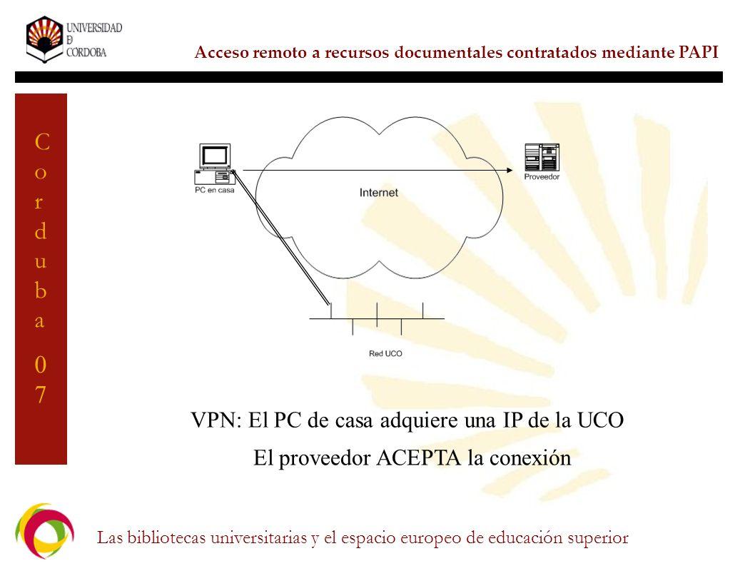 El proveedor ACEPTA la conexión
