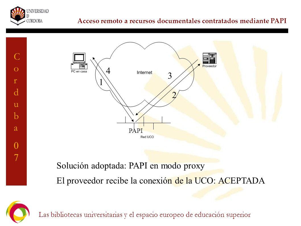 Solución adoptada: PAPI en modo proxy