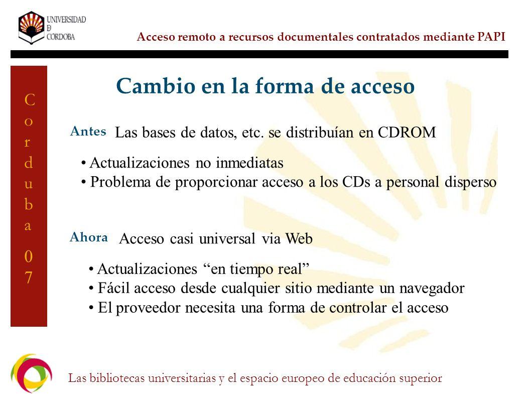 Cambio en la forma de acceso