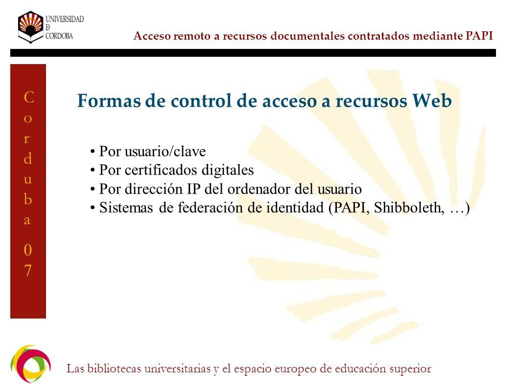 Formas de control de acceso a recursos Web