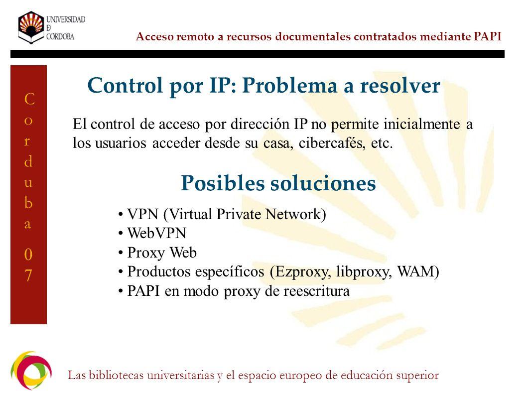 Control por IP: Problema a resolver