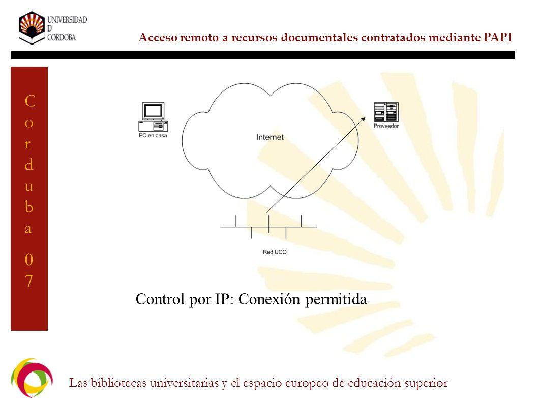 Control por IP: Conexión permitida