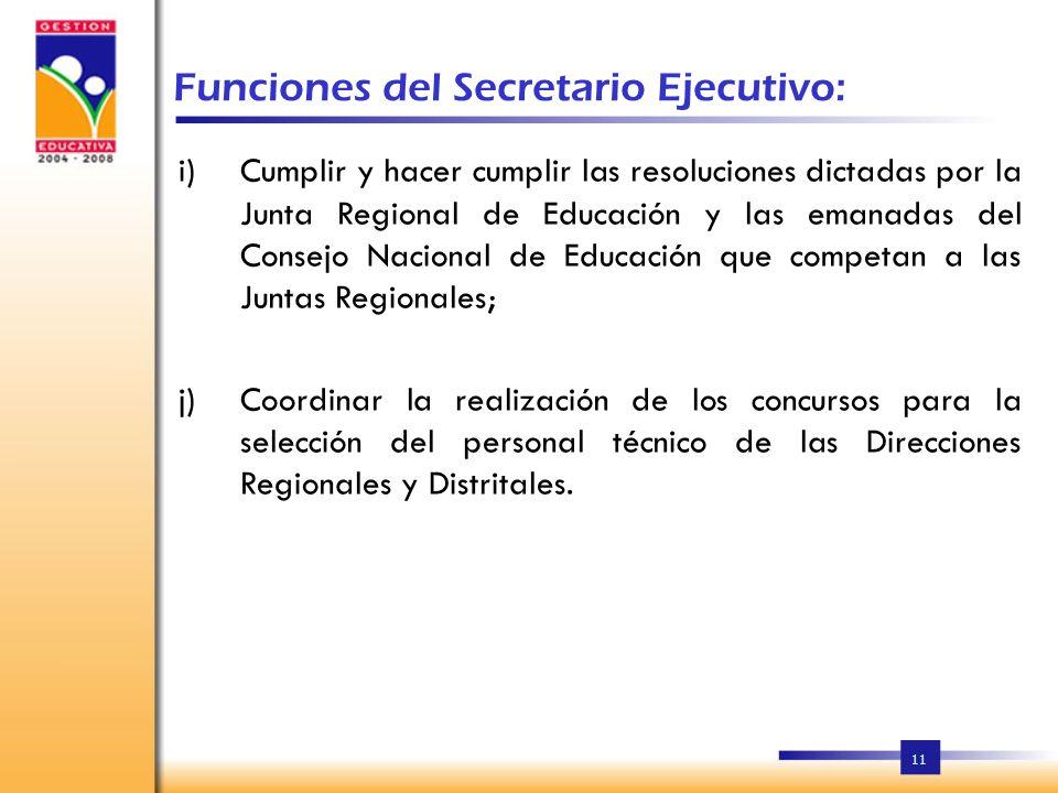 Funciones del Secretario Ejecutivo: