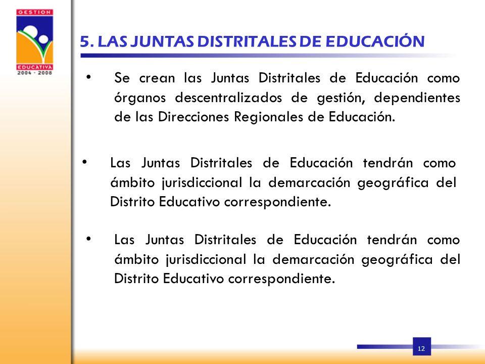 5. LAS JUNTAS DISTRITALES DE EDUCACIÓN