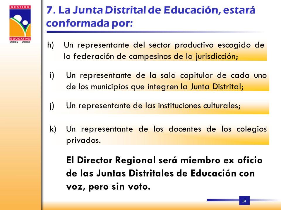 7. La Junta Distrital de Educación, estará conformada por: