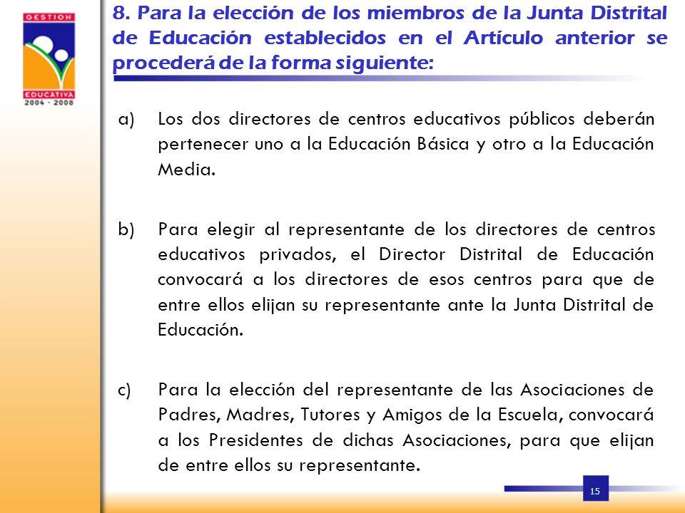 8. Para la elección de los miembros de la Junta Distrital de Educación establecidos en el Artículo anterior se procederá de la forma siguiente: