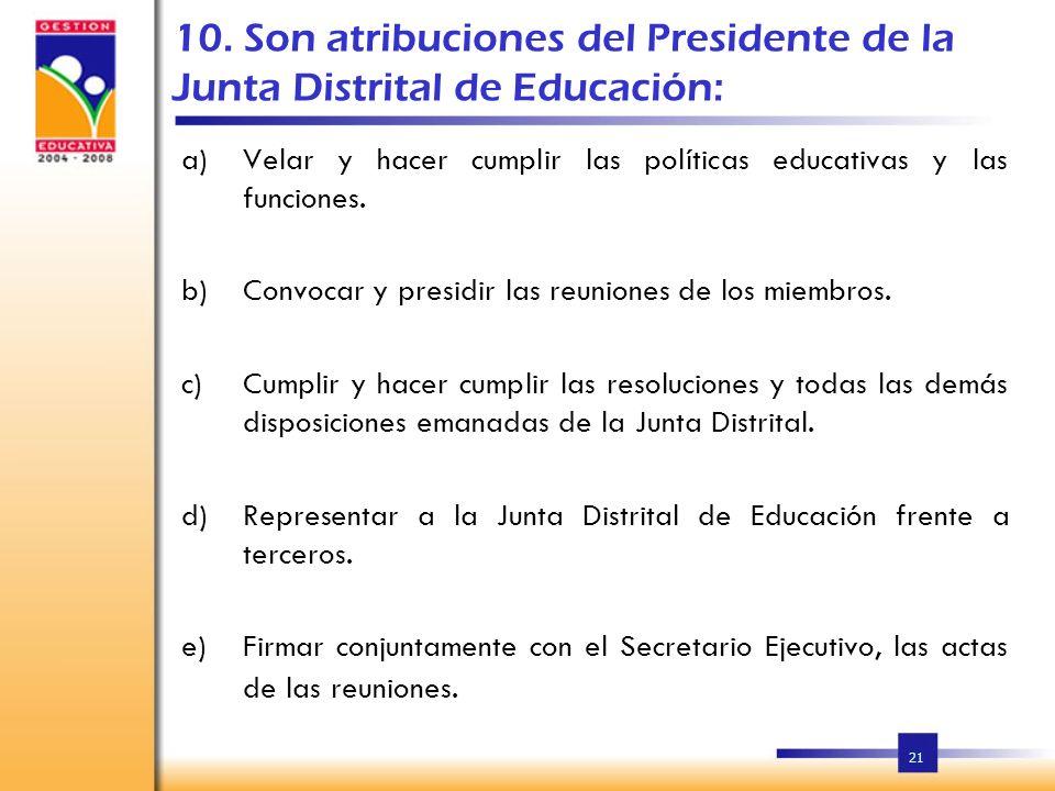 10. Son atribuciones del Presidente de la Junta Distrital de Educación: