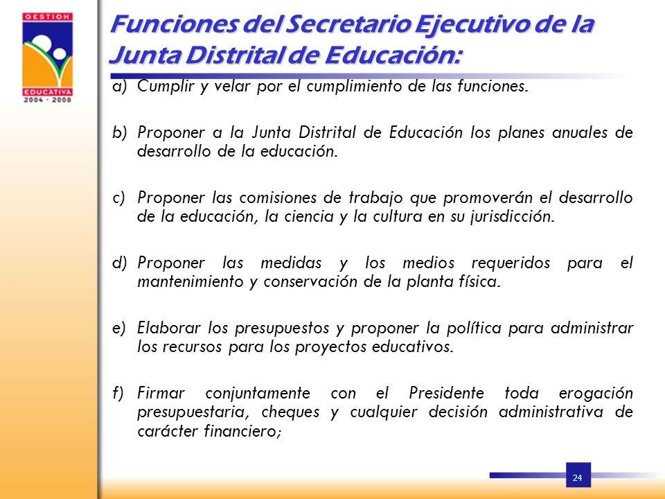 Funciones del Secretario Ejecutivo de la Junta Distrital de Educación:
