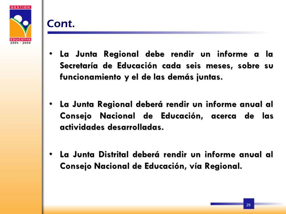 Cont. La Junta Regional debe rendir un informe a la Secretaría de Educación cada seis meses, sobre su funcionamiento y el de las demás juntas.
