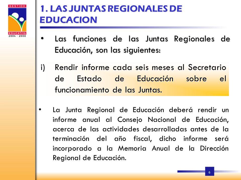 1. LAS JUNTAS REGIONALES DE EDUCACION