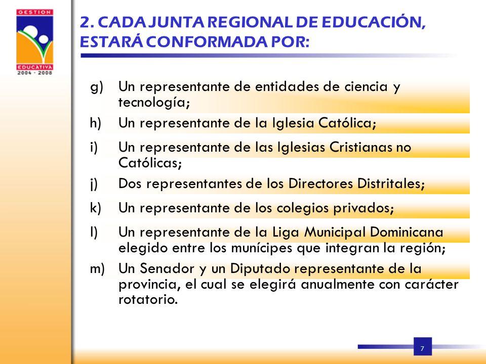 2. CADA JUNTA REGIONAL DE EDUCACIÓN, ESTARÁ CONFORMADA POR: