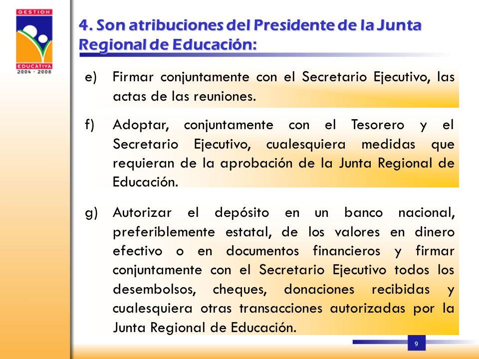 4. Son atribuciones del Presidente de la Junta Regional de Educación: