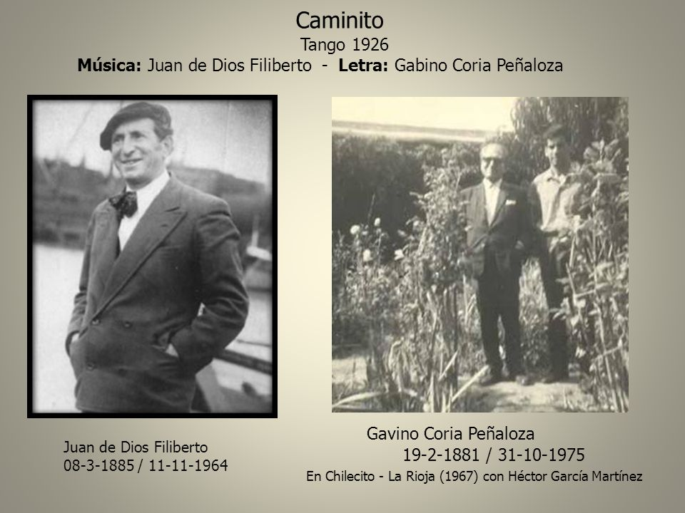 Caminito Tango 1926 Gavino Coria Peñaloza 19-2-1881 / 31-10-1975