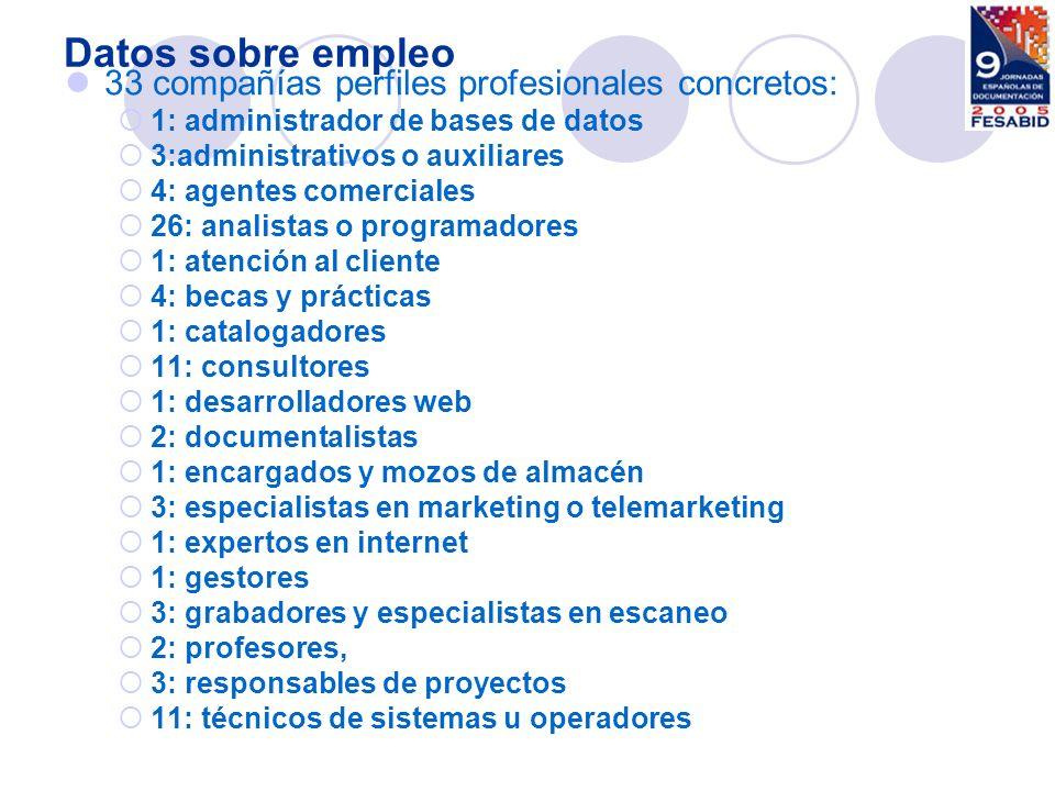 Datos sobre empleo 33 compañías perfiles profesionales concretos: