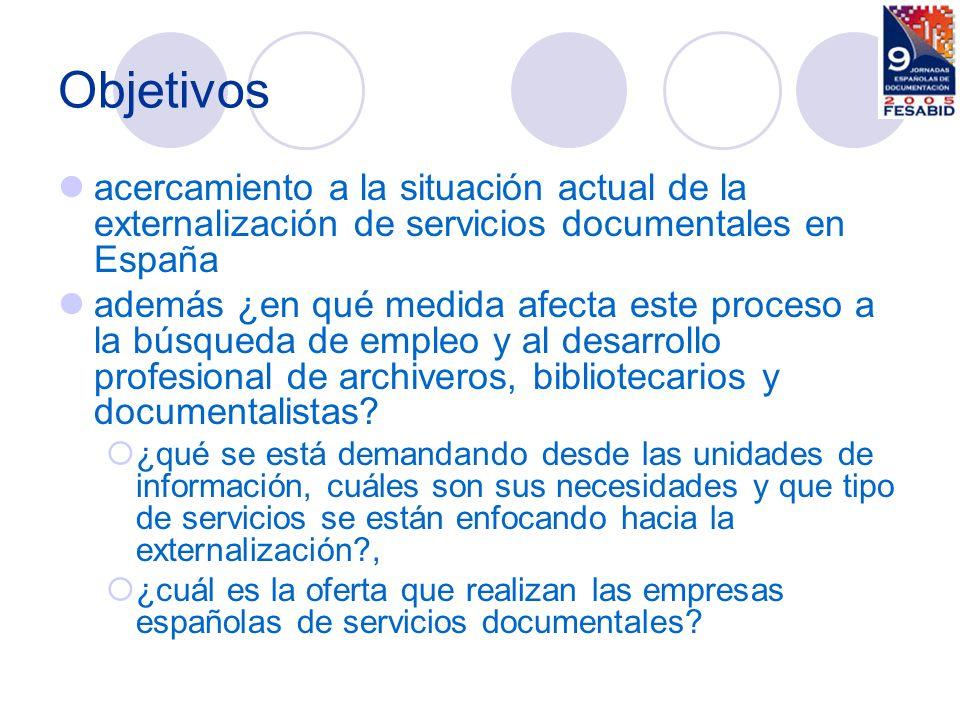 Objetivos acercamiento a la situación actual de la externalización de servicios documentales en España.