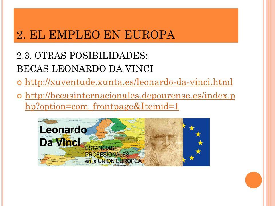 2. EL EMPLEO EN EUROPA 2.3. OTRAS POSIBILIDADES: