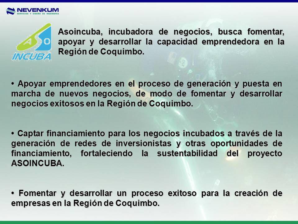 Asoincuba, incubadora de negocios, busca fomentar, apoyar y desarrollar la capacidad emprendedora en la Región de Coquimbo.