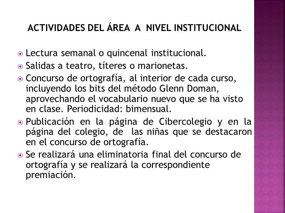 ACTIVIDADES DEL ÁREA A NIVEL INSTITUCIONAL