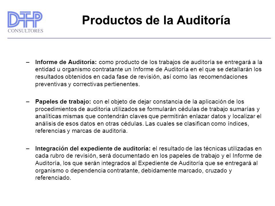 Productos de la Auditoría