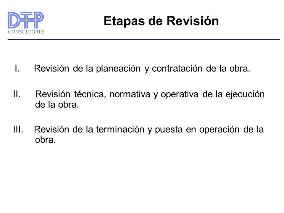 Etapas de Revisión I. Revisión de la planeación y contratación de la obra. Revisión técnica, normativa y operativa de la ejecución de la obra.