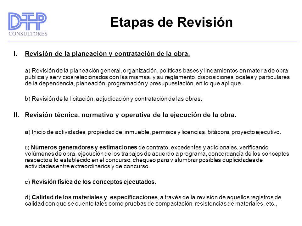 Etapas de Revisión I. Revisión de la planeación y contratación de la obra.
