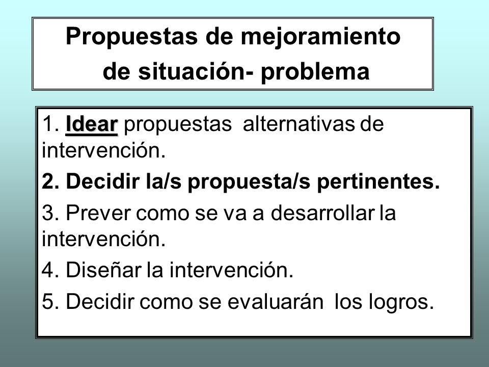 Propuestas de mejoramiento de situación- problema