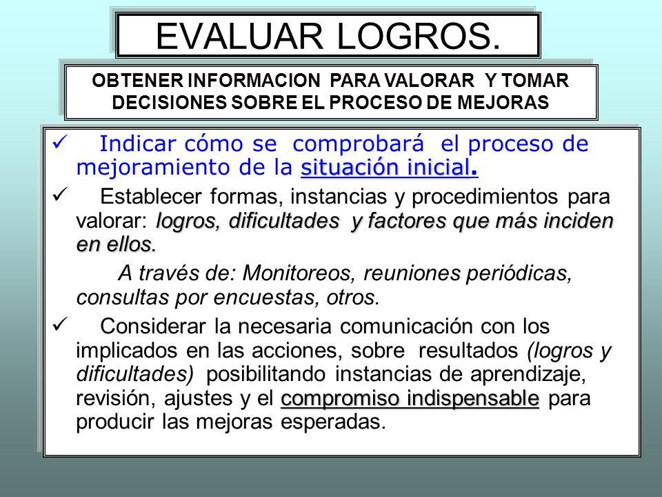 EVALUAR LOGROS. OBTENER INFORMACION PARA VALORAR Y TOMAR DECISIONES SOBRE EL PROCESO DE MEJORAS.