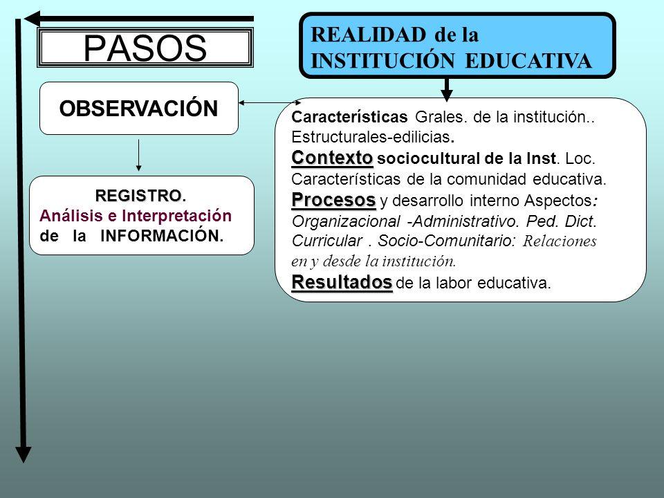 PASOS REALIDAD de la INSTITUCIÓN EDUCATIVA OBSERVACIÓN