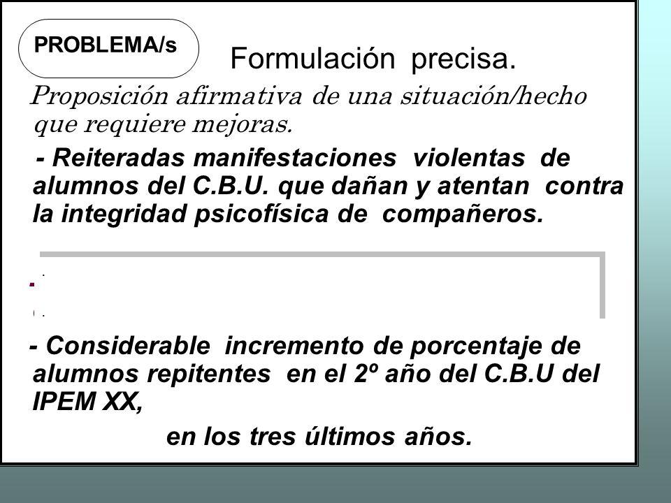 Formulación precisa. Proposición afirmativa de una situación/hecho que requiere mejoras.