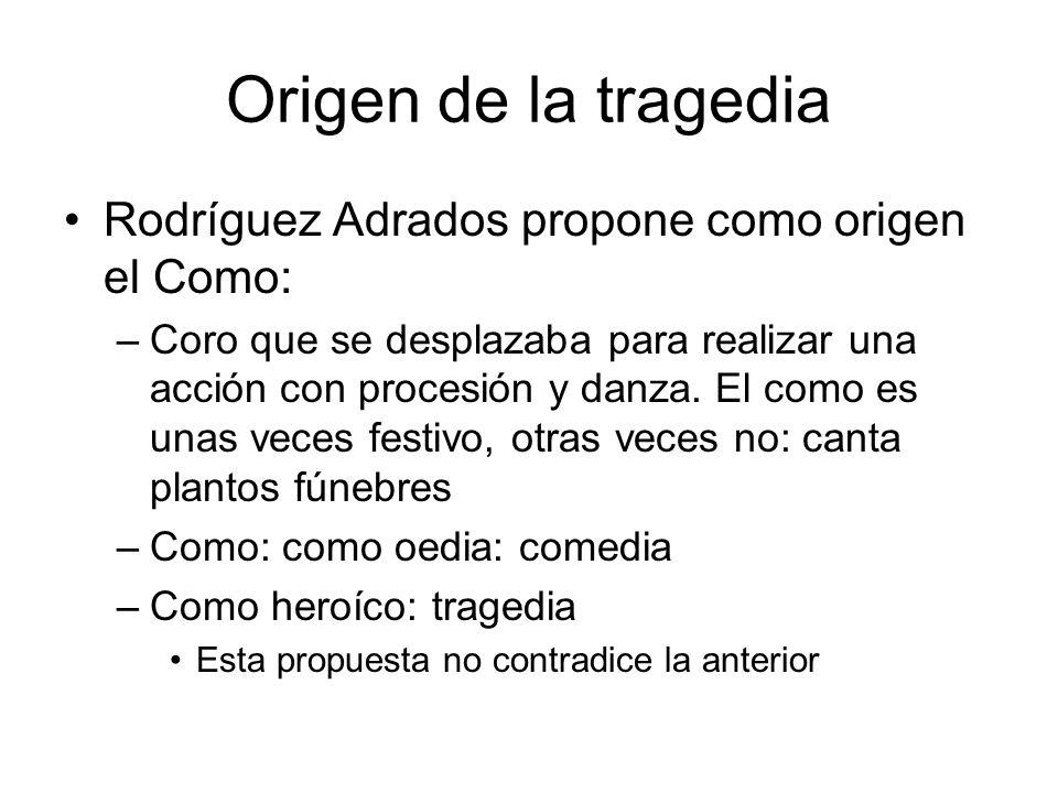 Origen de la tragedia Rodríguez Adrados propone como origen el Como:
