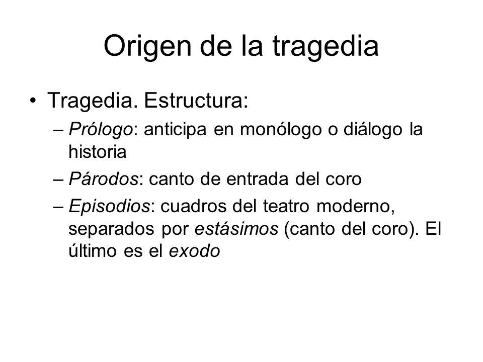 Origen de la tragedia Tragedia. Estructura: