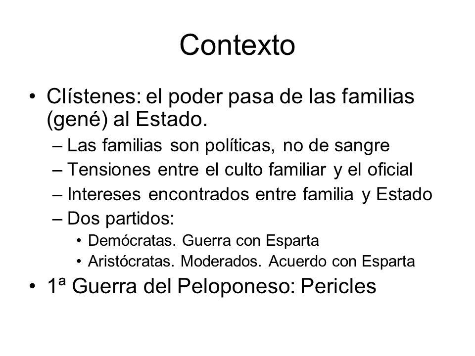 Contexto Clístenes: el poder pasa de las familias (gené) al Estado.