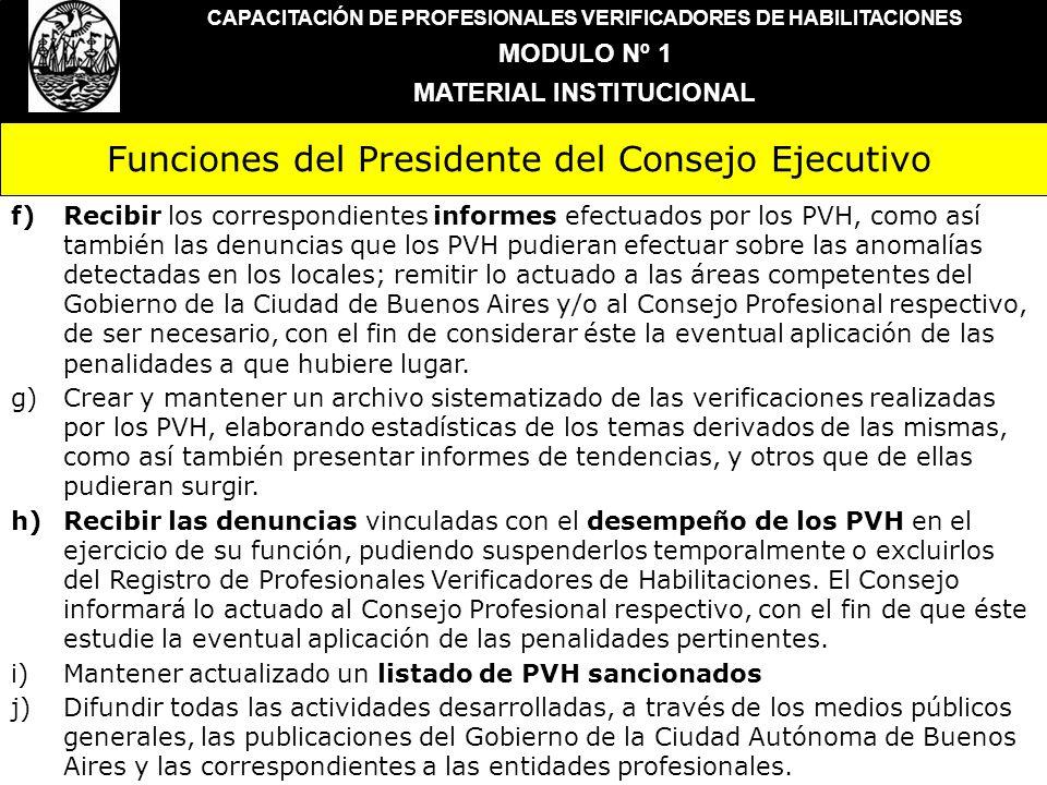 Funciones del Presidente del Consejo Ejecutivo