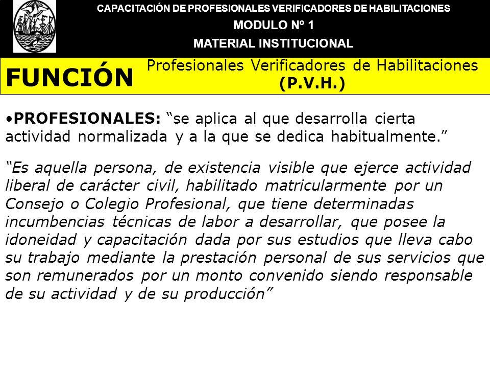 FUNCIÓN Profesionales Verificadores de Habilitaciones (P.V.H.)