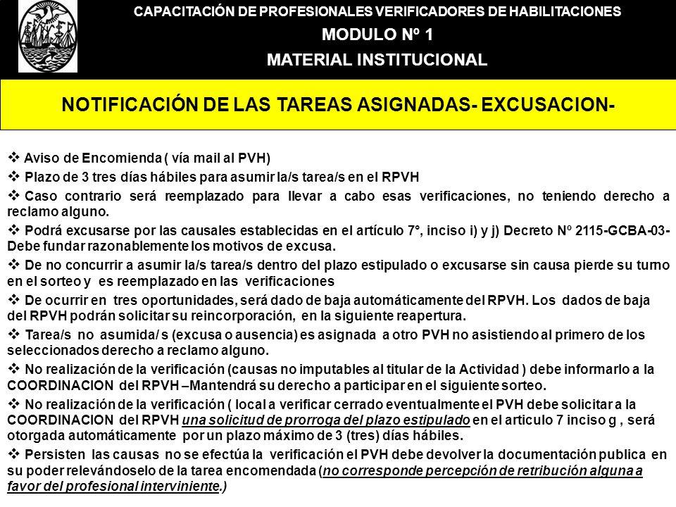 NOTIFICACIÓN DE LAS TAREAS ASIGNADAS- EXCUSACION-