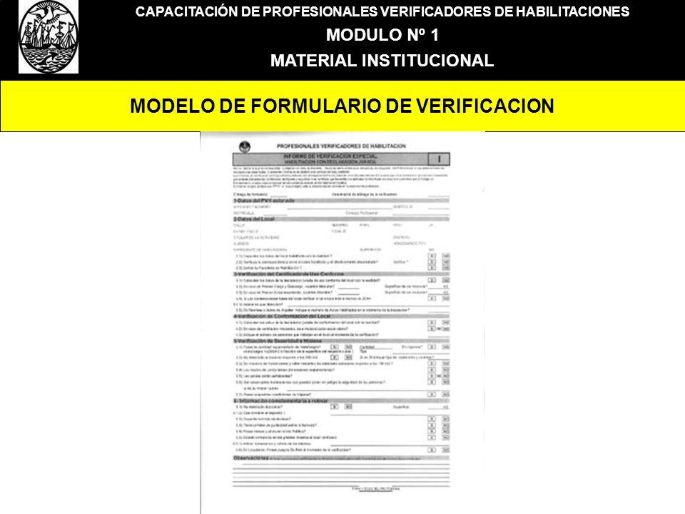 MODELO DE FORMULARIO DE VERIFICACION