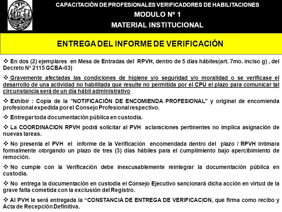 ENTREGA DEL INFORME DE VERIFICACIÓN