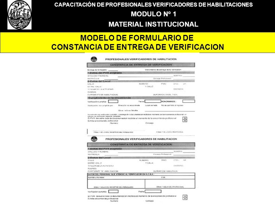 MODELO DE FORMULARIO DE CONSTANCIA DE ENTREGA DE VERIFICACION
