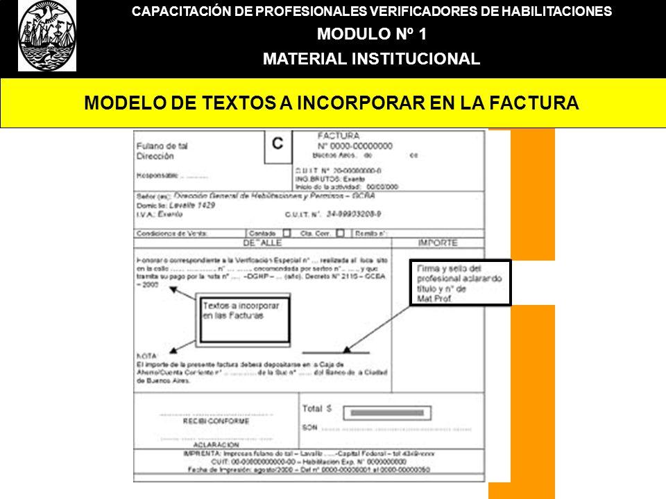 MODELO DE TEXTOS A INCORPORAR EN LA FACTURA