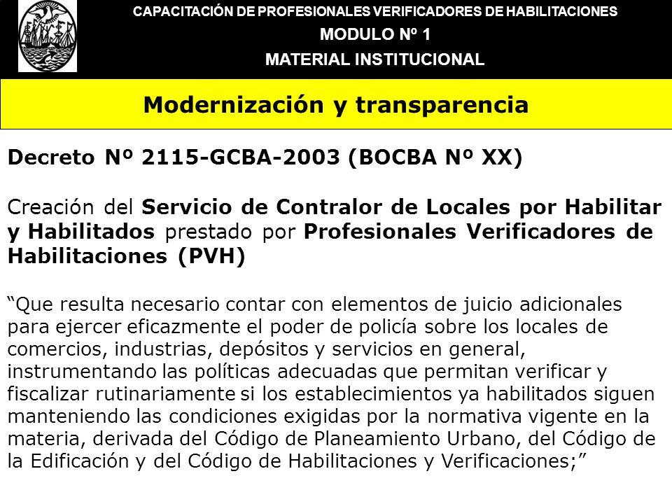 Modernización y transparencia