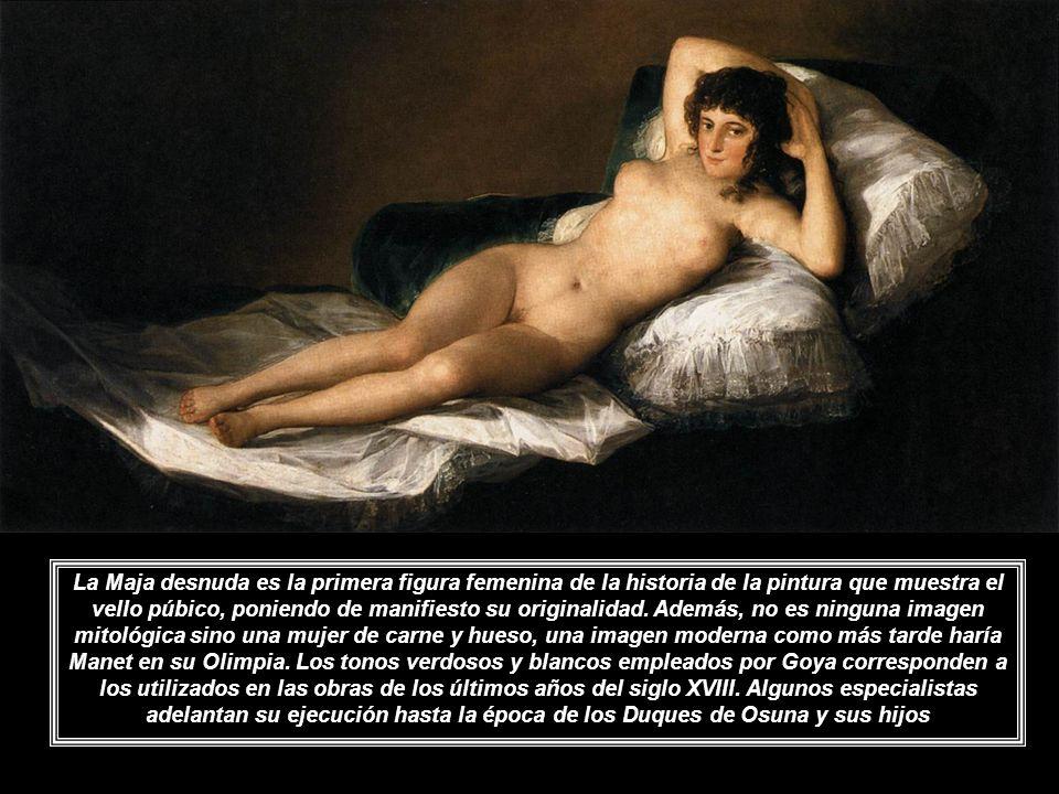 La Maja desnuda es la primera figura femenina de la historia de la pintura que muestra el vello púbico, poniendo de manifiesto su originalidad.