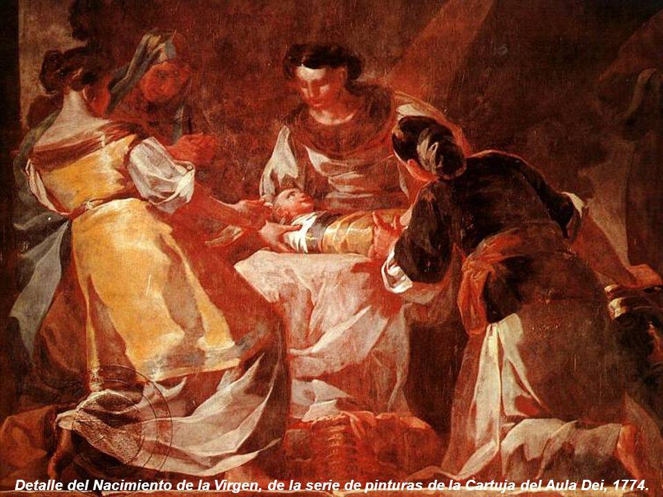 Detalle del Nacimiento de la Virgen, de la serie de pinturas de la Cartuja del Aula Dei, 1774.