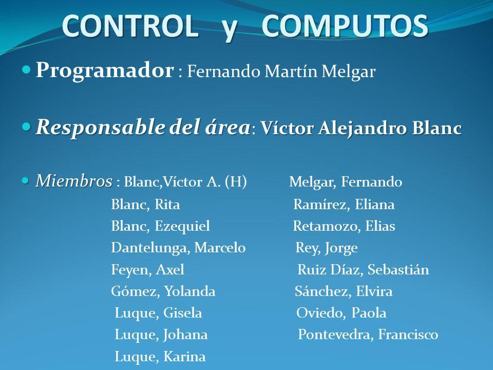 CONTROL y COMPUTOS Programador : Fernando Martín Melgar