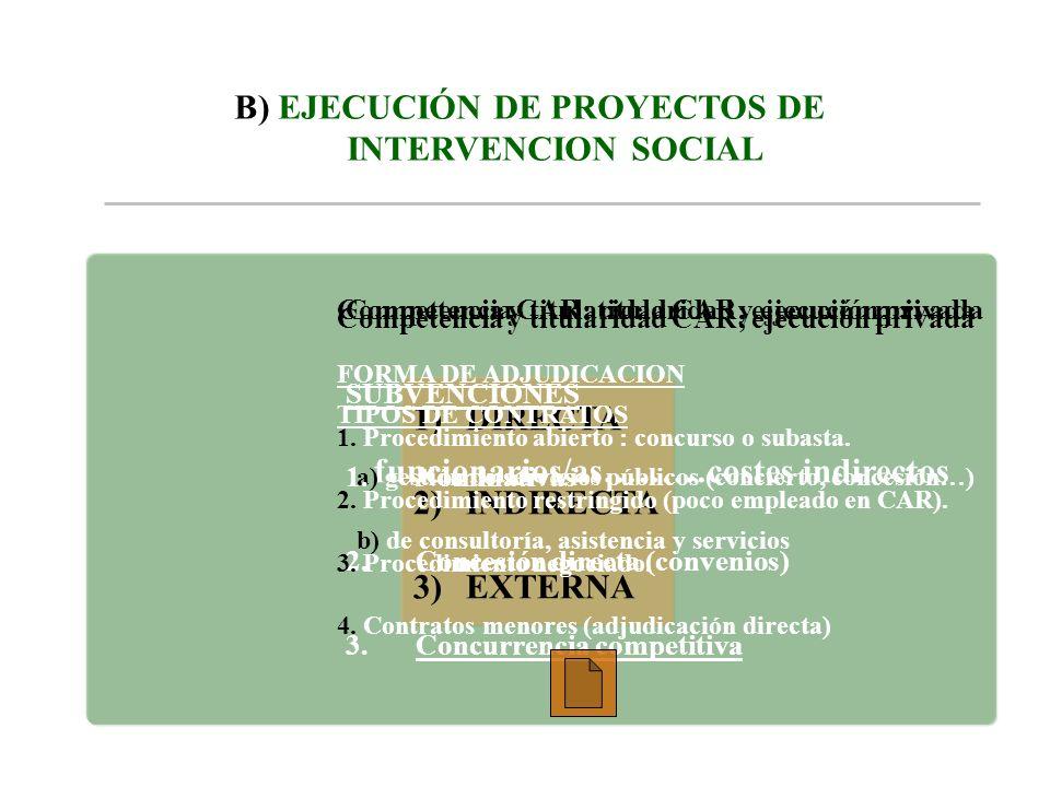 B) EJECUCIÓN DE PROYECTOS DE INTERVENCION SOCIAL