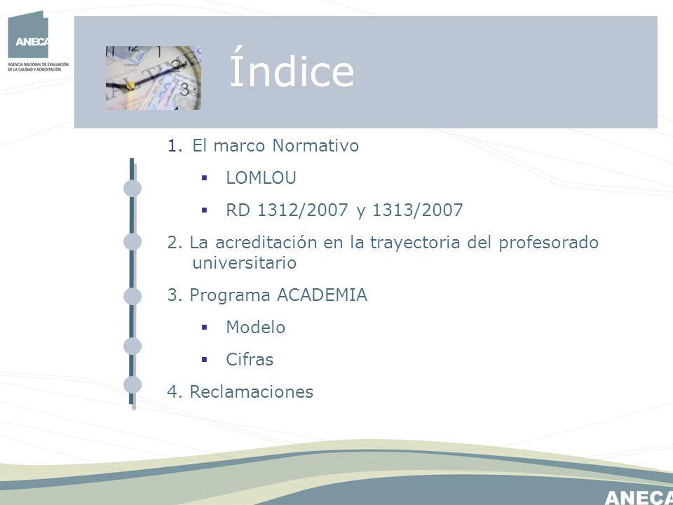 Índice El marco Normativo LOMLOU RD 1312/2007 y 1313/2007