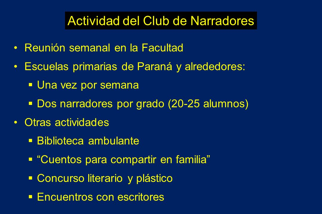 Actividad del Club de Narradores