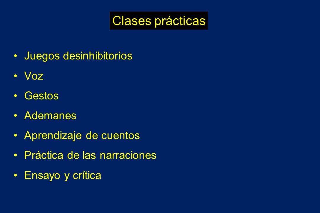 Clases prácticas Juegos desinhibitorios Voz Gestos Ademanes